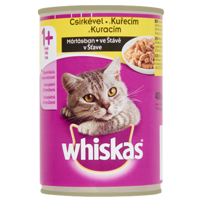 Kép Whiskas 1+ teljes értékű állateledel felnőtt macskák számára csirkével mártásban 400 g
