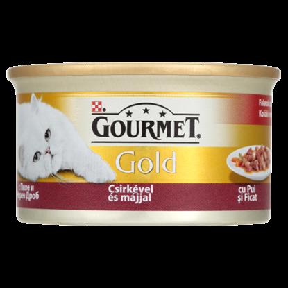 Kép Gourmet Gold teljes értékű állateledel felnőtt macskáknak csirke-máj falatok szószban 85 g