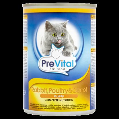 Kép PreVital teljes értékű állateledel felnőtt macskák számára nyúllal, baromfival és répával 415 g