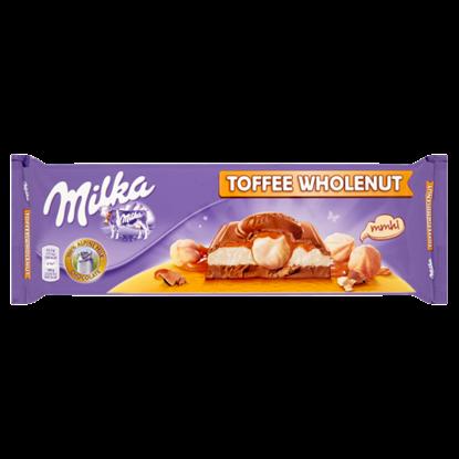 Kép Milka alpesi tejcsokoládé karamell ízű tejszínes, karamellás töltelékkel és egész mogyoróval 300 g