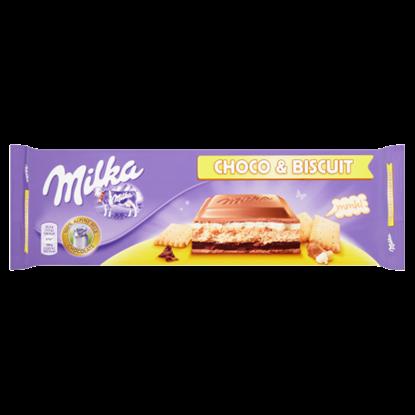 Kép Milka alpesi tejcsokoládéval bevont kakaós és tejszínes krémmel töltött kekszes tábla 300 g