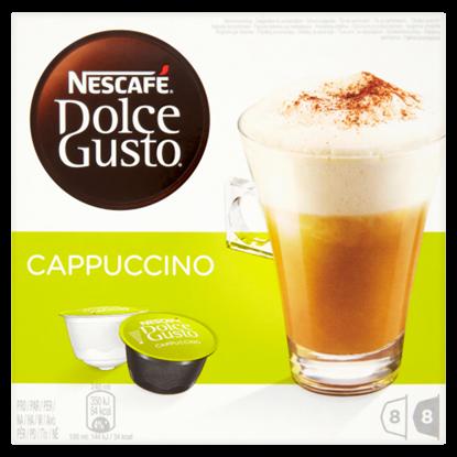 Kép Nescafé Dolce Gusto Cappuccino őrölt pörkölt kávé és tejpor cukorral 2 x 8 db 200 g