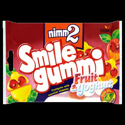 Kép nimm2 Smilegummi Fruit & Yoghurt vegyes gyümölcs ízű gumicukorka joghurtos réteggel 100 g