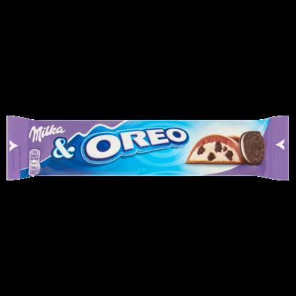 Kép Milka & Oreo alpesi tejcsokoládé kakaós kekszdarabokkal és vaníliaízű tejes krémtöltelékkel 37 g