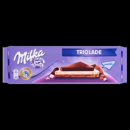 Kép Milka Triolade alpesi tejcsokoládé fehércsokoládéval és magas kakaótartalmú tejcsokoládéval 280 g