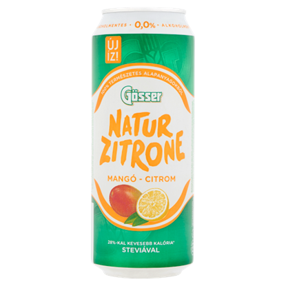 Kép Gösser NaturZitrone alkoholmentes, mangó-citrom ízű szénsavas ital 0,5 l doboz
