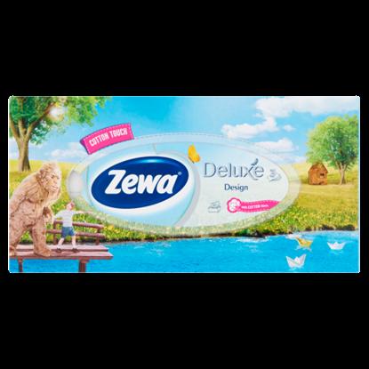 Kép Zewa Deluxe Design dobozos illatmentes papír zsebkendő 3 rétegű 90 db