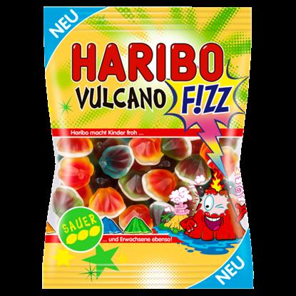 Kép Haribo Vulcano F!zz gyümölcsízű gumicukorka habcukorral almaízesítésű töltelékkel 175 g
