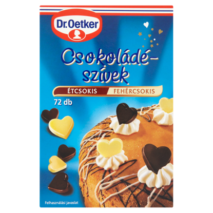 Kép Dr. Oetker Csokoládészívek ét-fehér 72 db 45 g