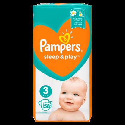 Kép Pampers Sleep&Play, 3-as Méret, 58 db Pelenka, 6-10 kg