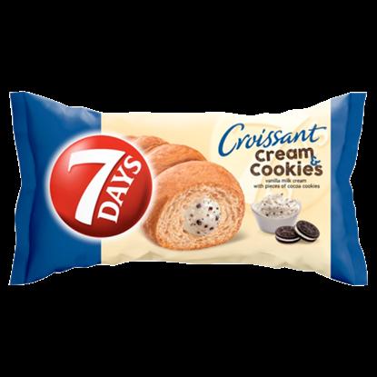 Kép 7DAYS Cream & Cookies vanília ízű tejes krémmel töltött croissant kakaós keksz darabokkal 60 g