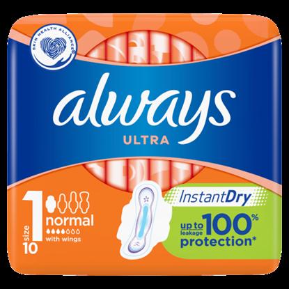 Kép Always Ultra Normal Szárnyas Egészségügyi Betét (1-Es Méret), 10 Betét