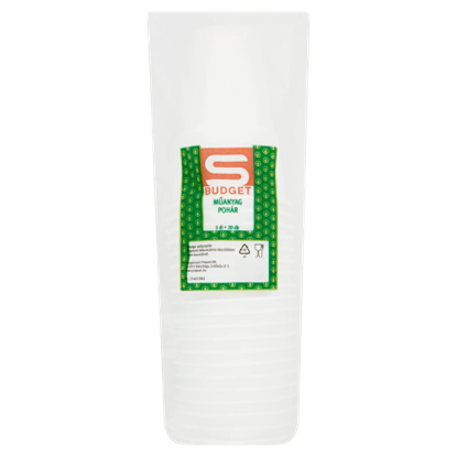 Kép S-Budget műanyag pohár 5 dl 20 db