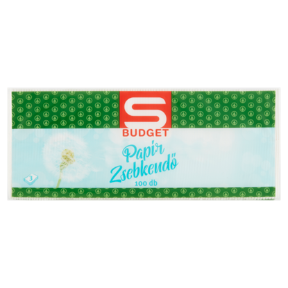 Kép S-Budget papír zsebkendő 3 rétegű 100 db