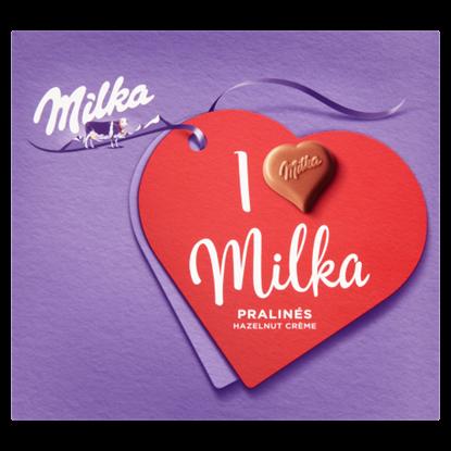Kép Milka I love Milka alpesi tejcsokoládé praliné mogyorós krémtöltelékkel 110 g